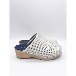 LL Bean White Leather Open Back Perforated Clog 10